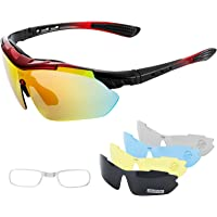 IPSXP Gafas de Sol Deportivas polarizadas 5 Lentes Intercambiables, Gafas de Ciclismo para Hombres y Mujeres, Carrera de…