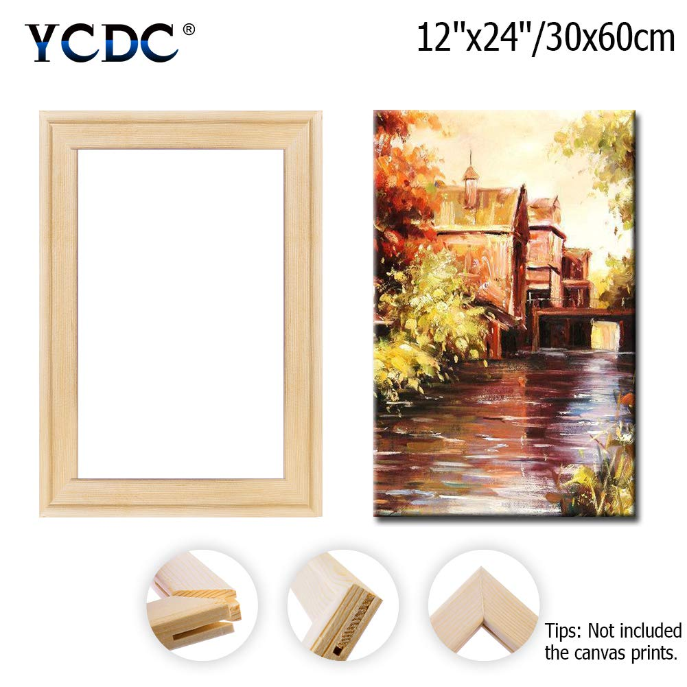 DIY Arts Accessory Materials Supply Solid Canvas Stretcher Frames 20x20//50x50cm for Oil Paintings Poster Prints Premium Pine Wood Strips Bar Set
