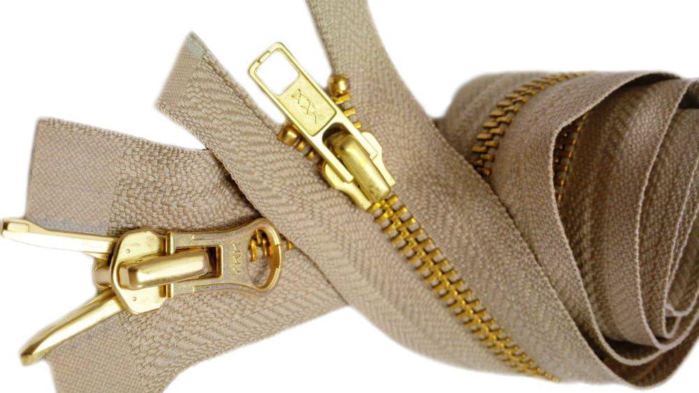 Special 2 Way Separating ~ Color Light Beige 573 Medium Weight YKK Parka Zipper 36\ #5 Brass 1 Zipper//pack