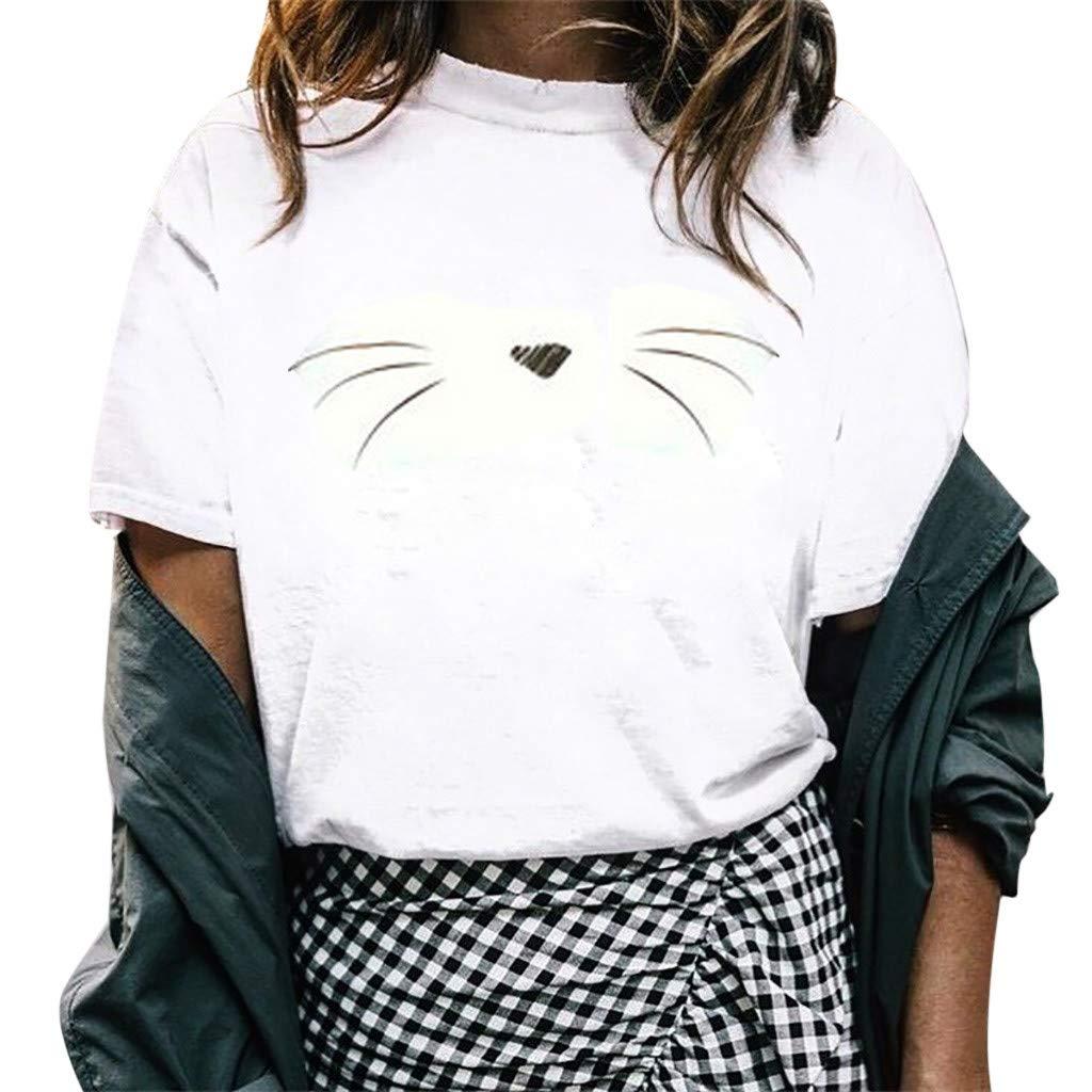 Duseedik Women's Summer Tops O-Neck Blouse Girl Summer Casual Crewneck Print Tunic Tank Tops Shirts Blouse White