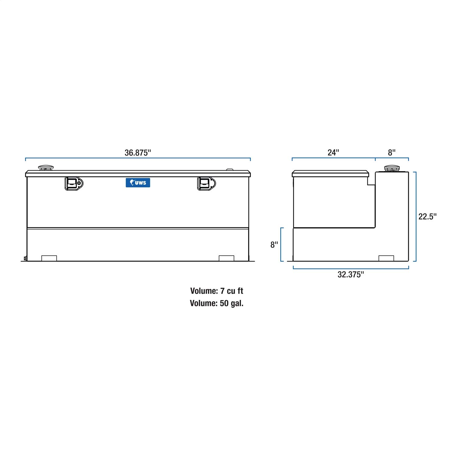 Uws Tt 50 Combo Gallon L Shaped Transfer Tank Ford Wiper Motor Wiring Diagram Motorhomes Rent Choice And Chest Automotive