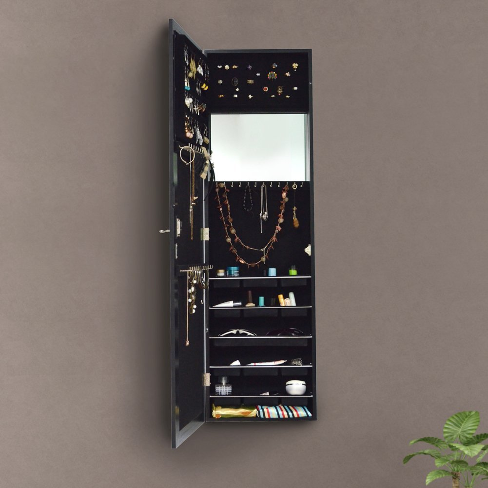 Organizedlife Black Free Standing Wall/Door-Mount Mirror Jewelry Armoire Cabinet For Dressing Room by Organizedlife (Image #6)