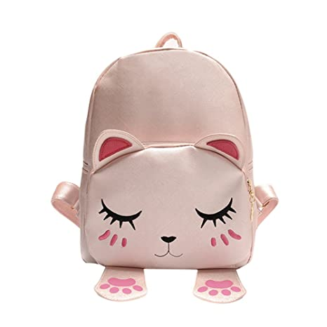 OneMoreT - Mochilas de piel para mujer, diseño de gato, rosa ...