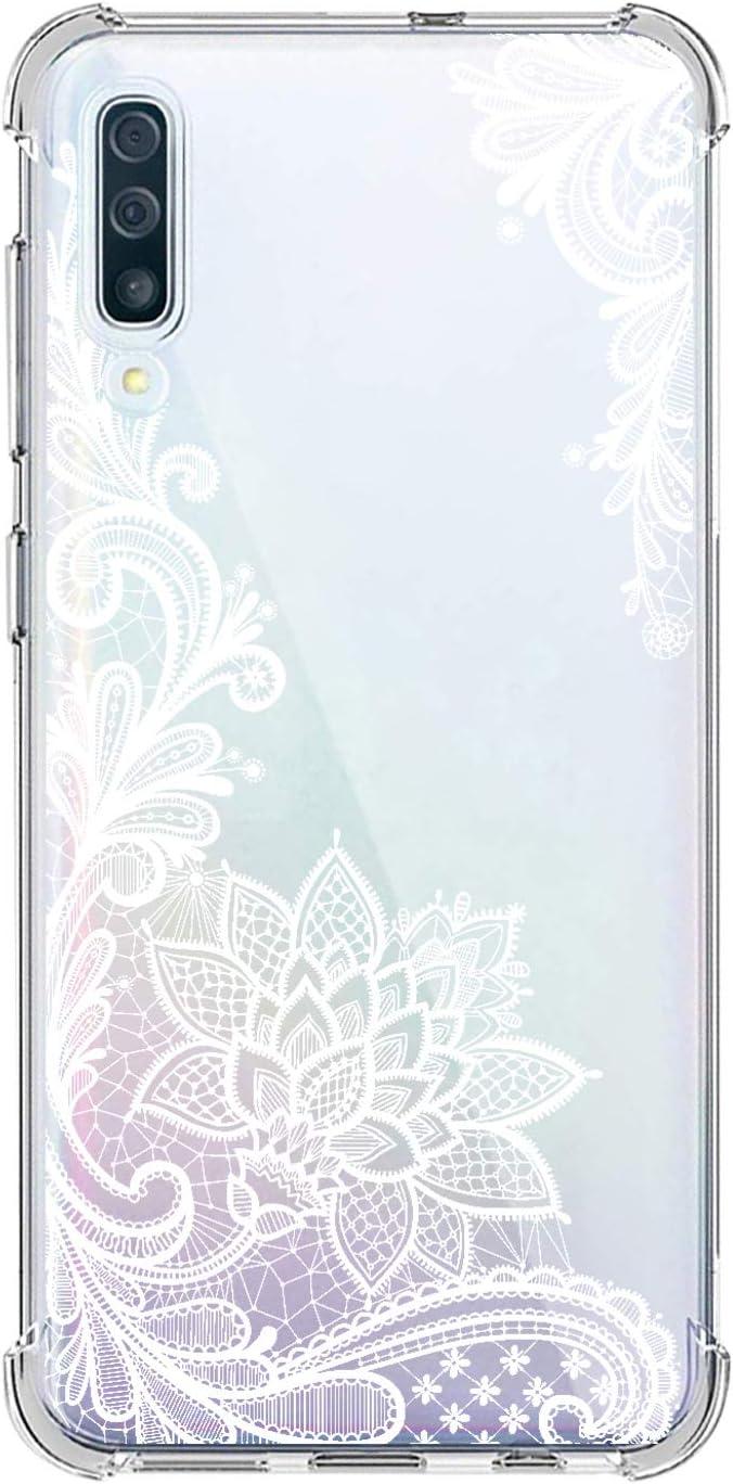 Suhctup Funda Compatible con Samsung Galaxy A70 Carcasa Transparente,Dibujo Diseño Flor [Protección Caídas] Ultra-Delgado Flexible Silicona TPU Estuche Cover para Galaxy A70,Mandala 3