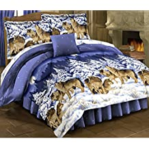 HOWLING WOLVES Blue Comforter Set + Full Size Sheet Set Wildlife Lodge Cabin (Bed In A Bag) (8pc FULL Size)