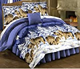 Wolves Howling Blue Comforter Set + Twin Size Sheet Set Wildlife Lodge Cabin (Bed in A Bag) (6pc Twin Size)