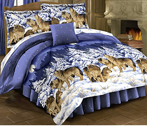 HOWLING WOLVES Blue Comforter Set + Twin Size Sheet Set Wildlife Lodge Cabin (Bed In A Bag) (6pc TWIN (Twin Sheet Set Rustic Cabin)
