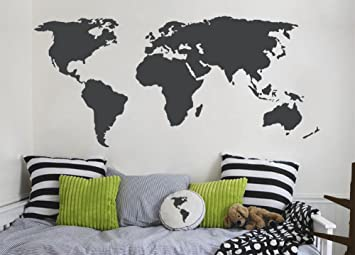 Amazon grey world map wall decal for home or office world grey world map wall decal for home or office world map vinyl sticker wall art gumiabroncs Gallery