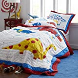 Handmade Pure Cotton Quilt Set 100% Cotton 3-Piece Bedspread Queen/Full Size Handcrafted Dinosaur Themed Quilt for Kids