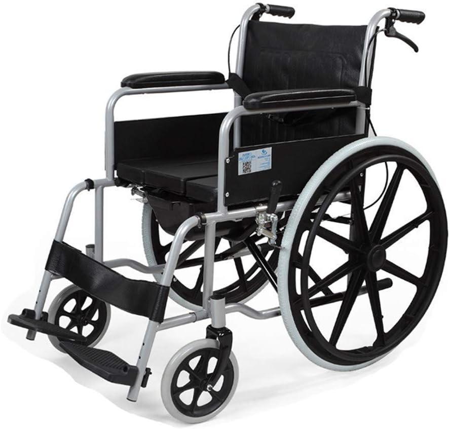 介助用車いす トイレの足ソリッドホイールと大型ローリングリアホイールと機能車椅子障害者車椅子アルミ合金快適なマニュアル折りたたみドレッサー車椅子