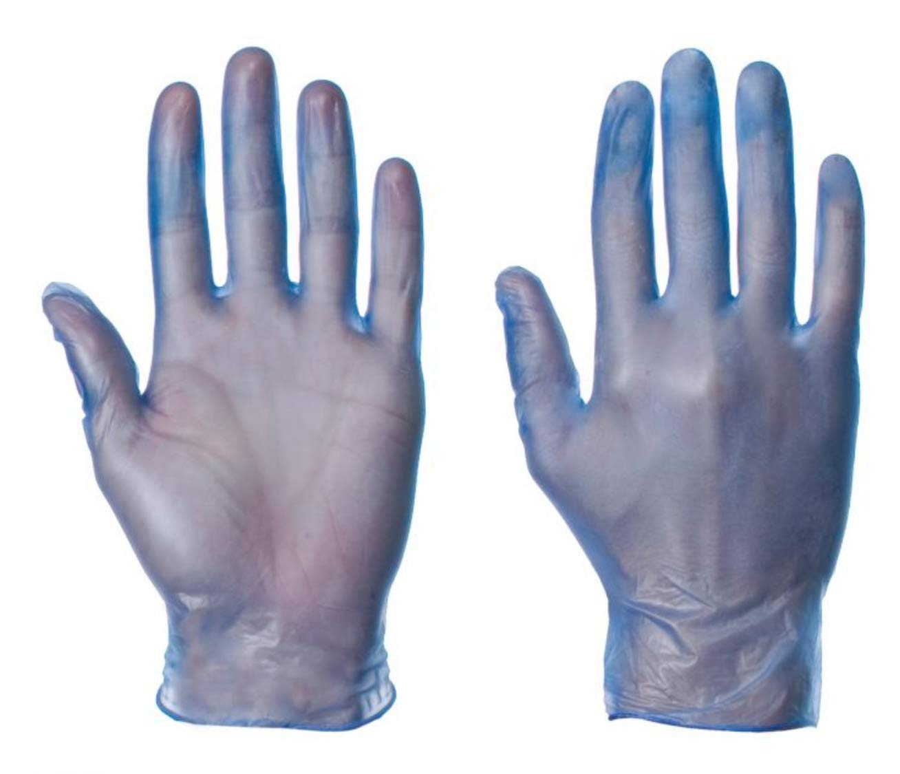 Small, Blue Powdered Vinyl Latex Free Medical Disposable Gloves Box of 100