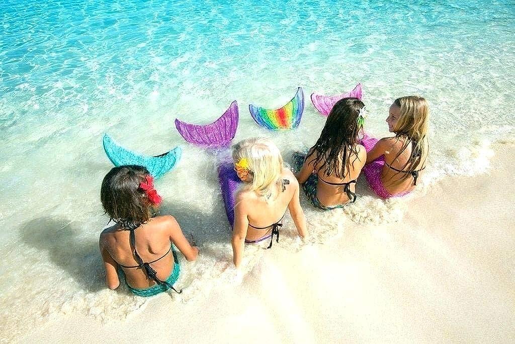 Decool Cola de Sirena Traje de Ba/ño Sirena de Las Muchachas Bikini 4pcs Set Princesa Cosplay Conjunto con Cola de Sirena Monof/ín