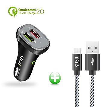 [Certificado por Qualcomm] ikits Quick Charge 2.0 30 W Dual 2 puertos USB cargador de coche rápido cargador usb (un cable micro USB 1.2 M/4ft ...