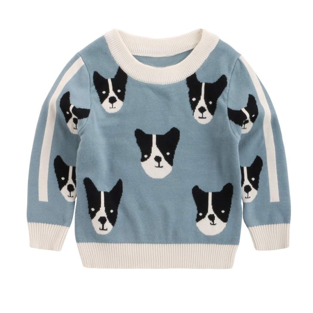 Boys Girls Clothes Baby Girl Boy Winter Clothes Baby Kids Long Sleeves Sweaters Blue 24M by Santans