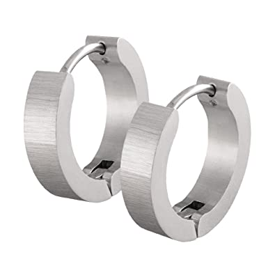 Un par de SoulCats® aros de acero inoxidable plata mate ...