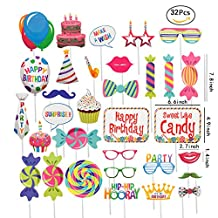 JEANSWSB Christmas Party Birthday Photo Booth Props - Holiday Photo Frame Funny Ornaments Party Favors & Supplies