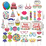 JEANSWSB 32pcs Christmas Photo Booth Props - Holiday Photo Frame Funny Ornaments Party Favors & Supplies