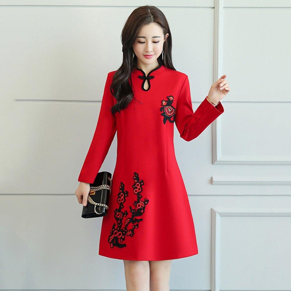 YAN Vestito da donna Vestiti da donna Cheongsam Manica lunga Abito corto Temperamento Belle signore Indossano abiti da cocktail stile cinese vintage indossati quotidianamente (Dimensione : M)