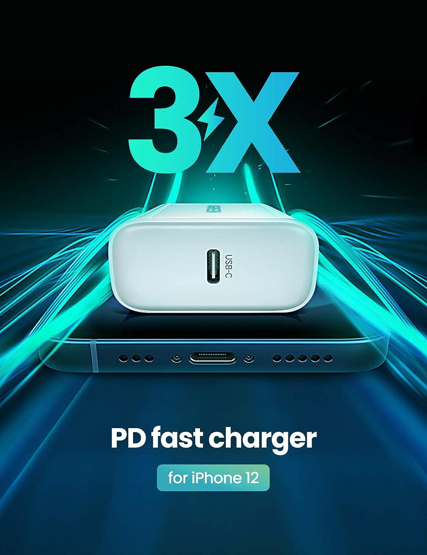 Cargador de Red USB C Compatible con iPhone 12 Pro MAX Mini 11 Pro MAX Se 2020 XR X 8 iPad Pro Galaxy S10 S9 S8 Redmi Note 9 Pro 2 Packs Cargador Tipo C Power Delivery 3.0 UGREEN Cargador USB C 20W
