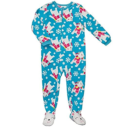 fad5c3ab6e Image Unavailable. Image not available for. Color  Carter s Girl s 5T Blue  Holiday Polar Bear Fleece Blanket Pajama Sleeper