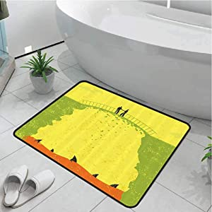 Anmaseven Carpet Kitchen Rugs Doormat Mat Living Room Non-Slip Grunge Decor,Two Men Shaking Hands and Sharks Under Bridge Business Murky Illustration,Yellow Green 30x48 Inch