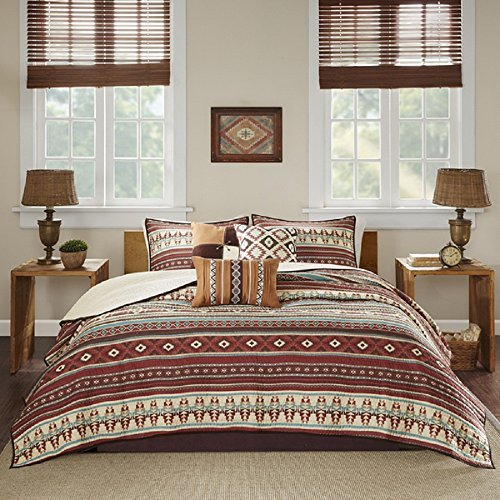 Image of Home and Kitchen DH 6 Piece Red Brown Blue White Southwest Coverlet King Cal Set, Native American Southwestern Bedding, Horizontal Tribal Stripes Geometric Motifs Lodge, Indian Themed Pattern, Aztec Western Colors