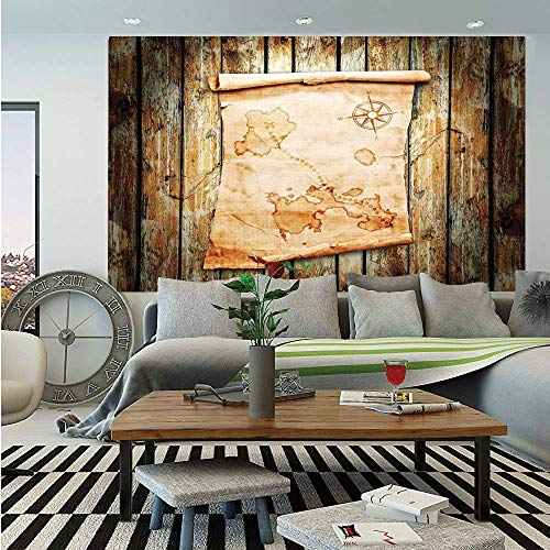 (Island Map Huge Photo Wall Mural,Treasure Map on Rustic Timber X Marks The Spot of Gold Nautical Pirates Concept,Self-Adhesive Large Wallpaper for Home Decor 100x144 inches,Cream Brown)