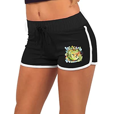 Women Summer Athletic Drawstring Shorts Apple Acid Retro Running Yoga Gym Workout Pants