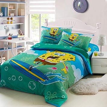 Ropa de cama de algodón esponja sábanas infantiles de dibujos animados para bebés, funda de edredón, funda de almohada 3 juegos Cubierta 150 x 200cm sábanas 205 x 225cm Bob Esponja SquarePants (