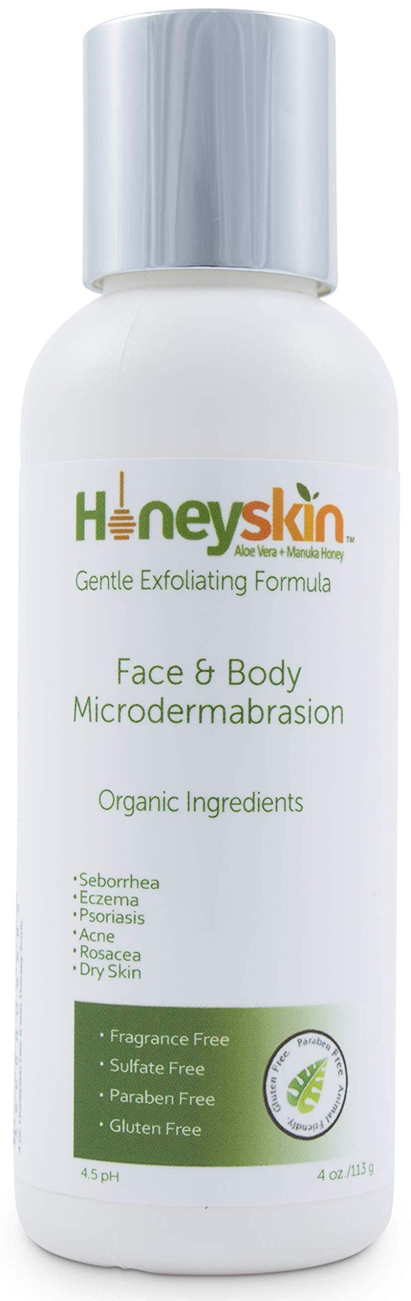 Face and Body Microdermabrasion Scrub - Natural & Organic Face Exfoliator with Manuka Honey & Aloe Vera for Dry & Sensitive Skin - Anti Aging Brightening Facial Scrub and Deep Pore Cleanser (4 oz)