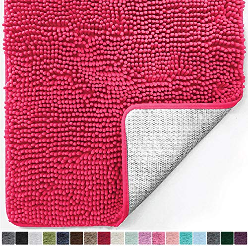 Gorilla Grip Original Luxury Chenille Bathroom Rug Mat (30 x 20), Extra Soft and Absorbent Shaggy Rugs, Machine Wash/Dry, Perfect Plush Carpet Mats for Tub, Shower, and Bath Room (Hot Pink)