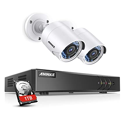 ANNKE Security Cameras System Smart HD 1080P 4+1 Channels DVR Recorder 1TB  Surveillance HDD w/ 2x 1080P HD Outdoor Bullet Camera, All-weather