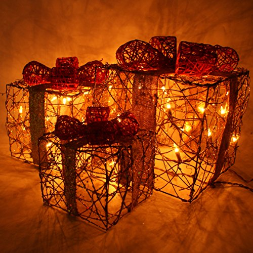 Forevercute Set of 3 Piece Lighted Rattan Gift Boxes Christmas Yard Art Decoration Color Gold US Plug