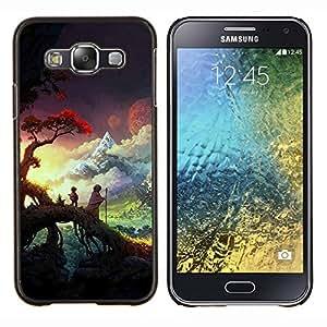 GIFT CHOICE / Teléfono Estuche protector Duro Cáscara Funda Cubierta Caso / Hard Case for Samsung Galaxy E5 E500 // Sunset Forest Nature Clouds //