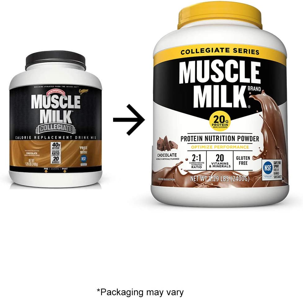 Muscle Milk Collegiate Protein Powder, Chocolate, 20g Protein, 5.29 Pound