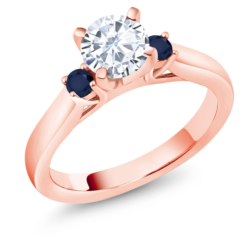 0.94Ct Created Moissanite Blue Sapphire 18K Rose Gold Plated Silver 3-Stone Ring