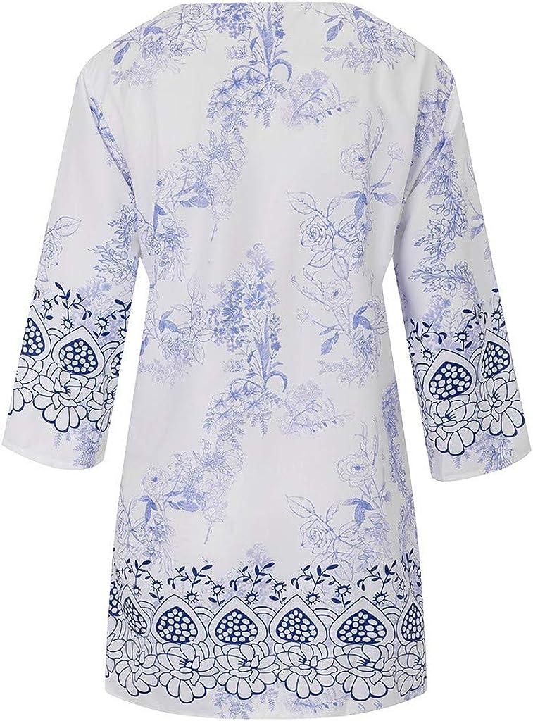 Fossen Camisa Casual Cuello En V Camisetas Mujer Manga 3//4 Tops Blusas y Camisas de Mujer Verano Suelta