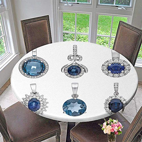 "Chateau Easy-Care Cloth Tablecloth Pendants with Sapphire Isolated on White Background Fashion Jewelry for Home, Party, Wedding 59""-63"" Round (Elastic Edge)"
