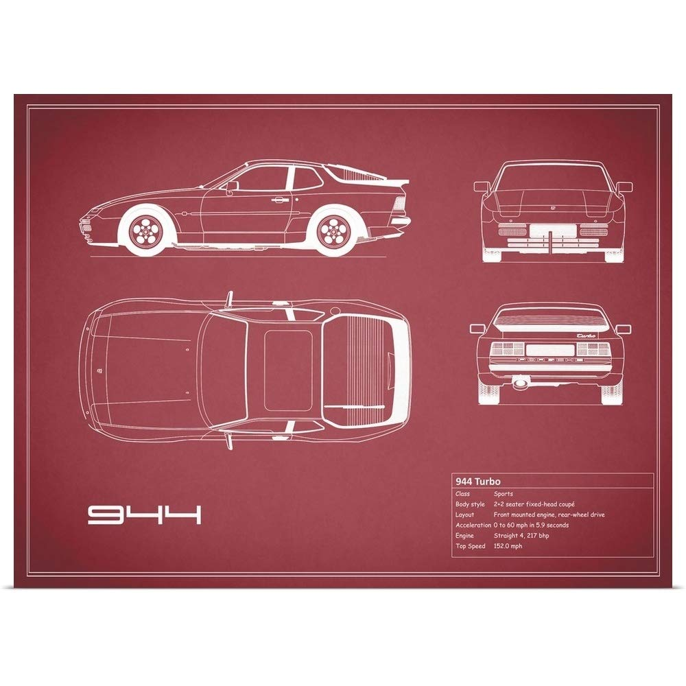 Amazon.com: Great Big Canvas Poster Print Entitled Porsche 944 Turbo - Maroon by Mark Rogan 36