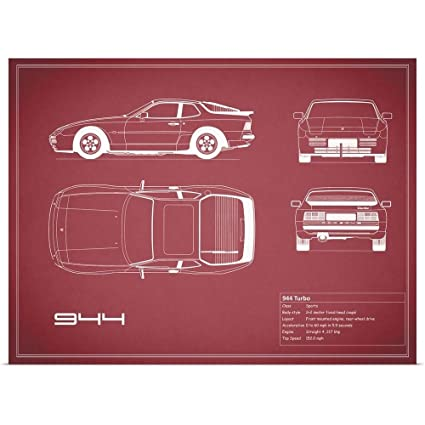 Great Big Canvas Poster Print Entitled Porsche 944 Turbo - Maroon by Mark Rogan 36""