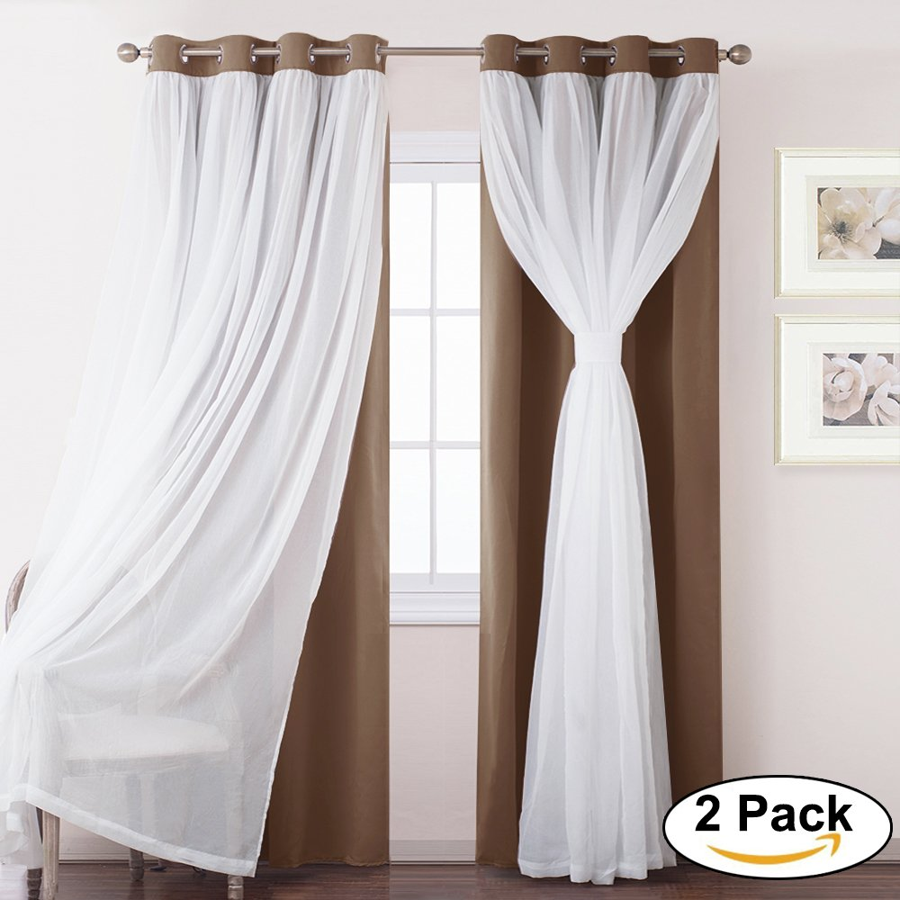 Blackout Curtain Panels for Bedroom - PONY DANCE Energy Saving Mix & Match Voile and Blackout Draperies / Panels for Living Room Window ,52''x 95'',khaki,Set of 2