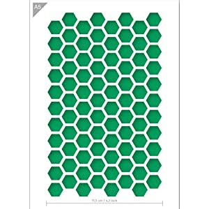 Hexagon Honeycomb Pattern Stencil - Card or Plastic - A5 5.8 x 8.3 inch – Pattern width 4,4 inch - Reusable, kids friendly stencil - Painting, crafts, cakes, wall and furniture stencil (Plastic)