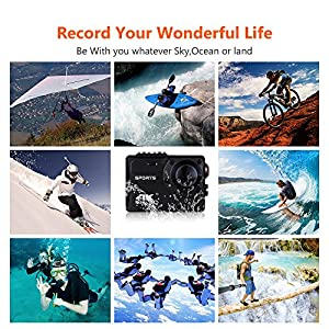 COOCHEER 4K WIFI Action Camera,Ultra HD 2.0 LCD Screen 16MP 150° Wide-Angle Self-waterproof 10m Underwater Sports Cam DV Camcorder Camera with Accessories Kit for Diving Surfing