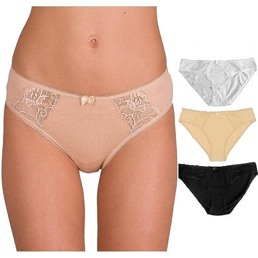 5a2dba4d767 Lemyo Women s Cotton Panties Lace Trim Sexy Underwear Soft Briefs (Beige 1  Pack)