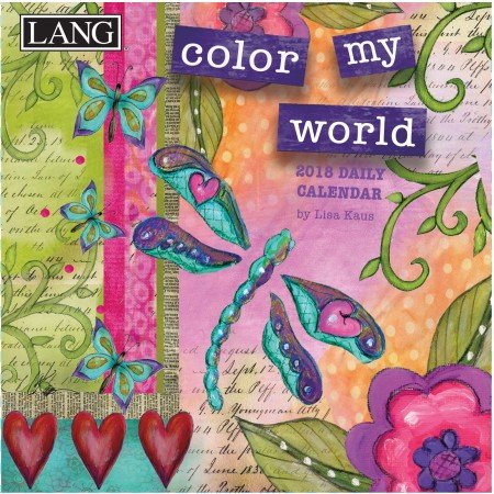 "LANG - 2018 Box Calendar - ""Color My World"", Artwork by Lisa Kaus - 12 Month, 5.25"" x 5.25"""