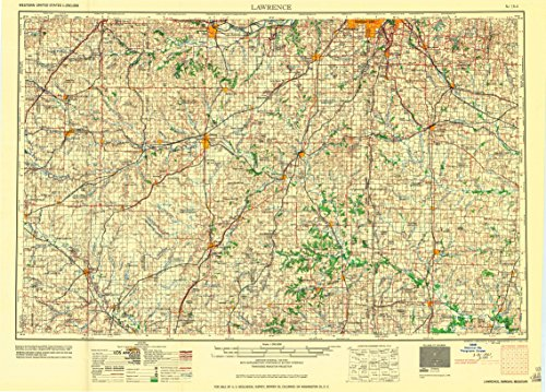 Lawrence KS topo map, 1:250000 scale, 1 X 2 Degree, Historical, 1961, updated 1961, 21.8 x 30.32 IN - - Hilltop Richmond