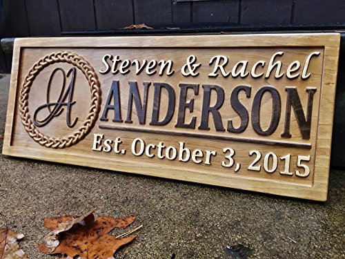 Gift Last Name Established Sign Family Name Signs Custom Wood Sign Carved Wooden Sign 3D 5 Year Anniversary Gift Couple Last Name Sign (Classic Carved Plaque)