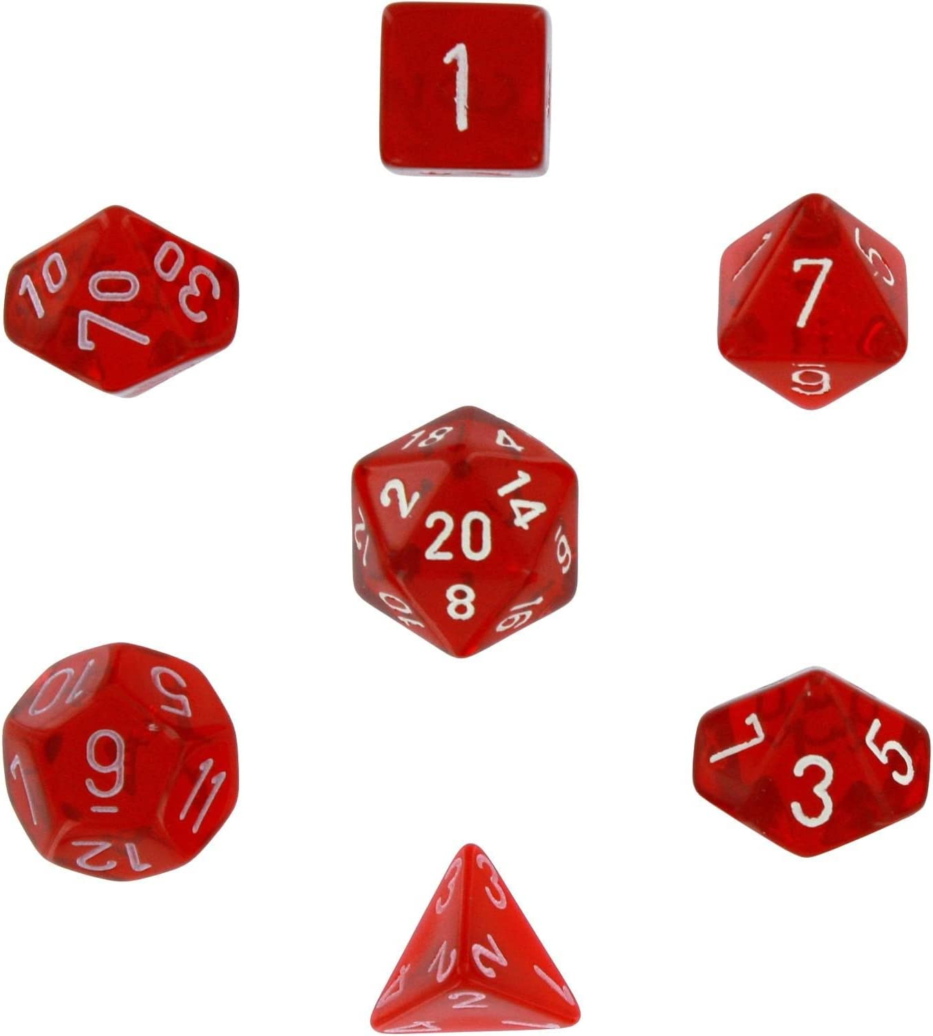 Polyhedral Dice Translucent Red