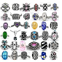 (20 Beads Mix) Pack of Assorted Silver Tone Charms, Rhinestones Bead Charms, Murano Glass Beads and Spacers