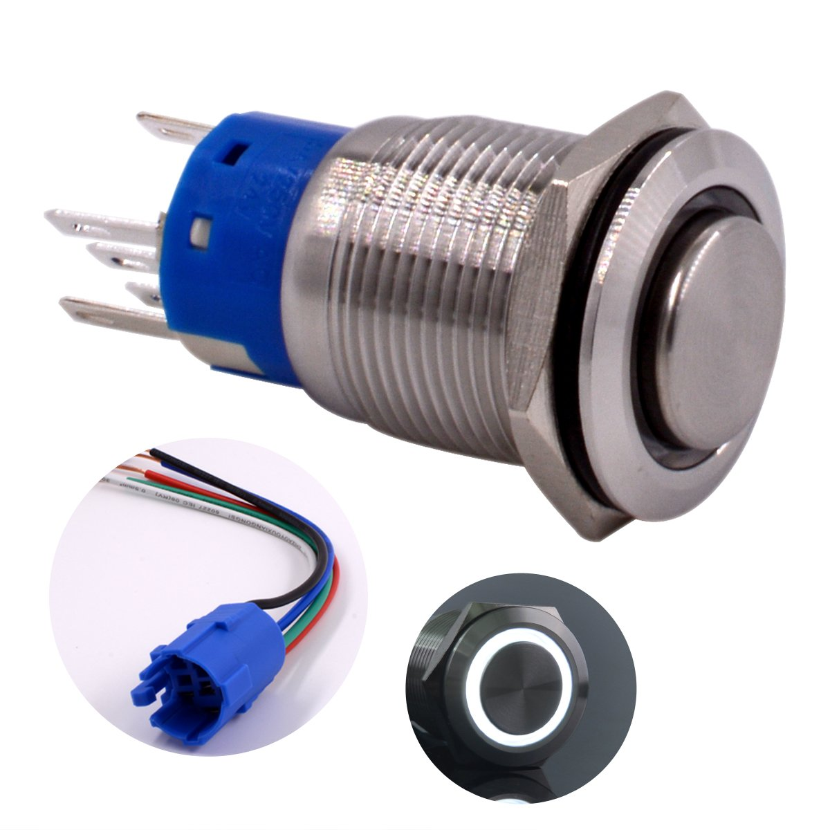 URTONE UR198 Include Socket 1NO1NC Stainless Steel Shell with 24V Blue LED Ring Suitable for 19mm 3//4 Mounting Hole Momentary Push Button Switch